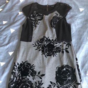 Black and Grey Dress with Flowers
